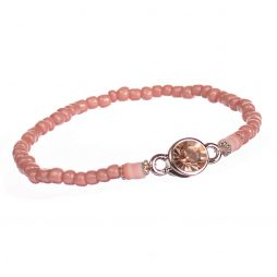 Hot Tomato Jewellery Pink Freebird Bead Bracelet with Crystal