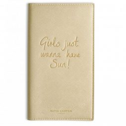 Katie Loxton Large Travel Wallet Girls Just Wanna Have Sun Metallic Gold