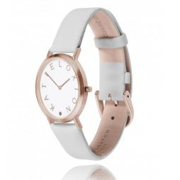 Katie Loxton Rose Gold Plated Lara Watch Pale Grey Leather Strap KLW005