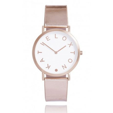 Katie Loxton Rose Gold Plated Luna Watch Metallic Leather Strap KLW007