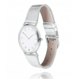 Katie Loxton Silver Plated Luna Watch Metallic Leather Strap KLW008