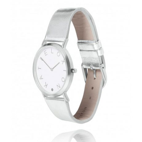 Katie Loxton Silver Plated Luna Watch Metallic Leather Strap KLW008 *