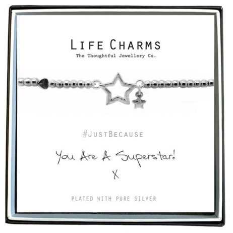 Life Charm You Are a Super Star Silver Bracelet