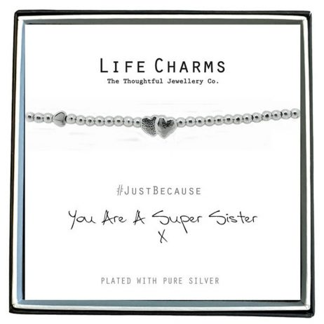Life Charm You Are A Super Sister Silver Bracelet