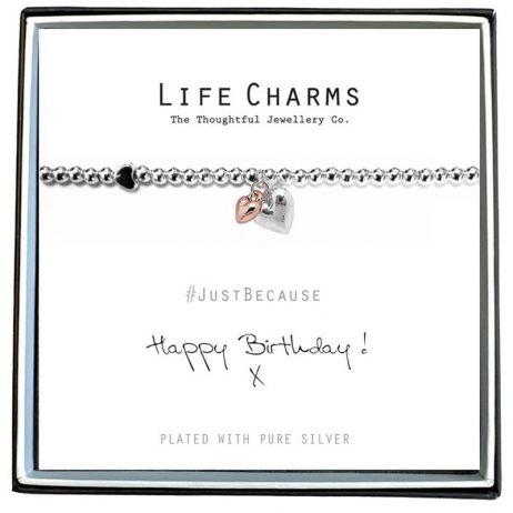 Life Charm Happy Birthday Silver Hearts Bracelet