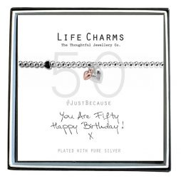 Life Charms Just Because You Are 50 Silver Heart Bracelet