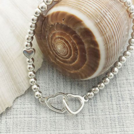 Life Charm You Are Loved Silver Hearts Bracelet