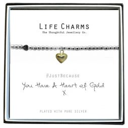 Life Charm You Have A Heart Of Gold Silver Bracelet