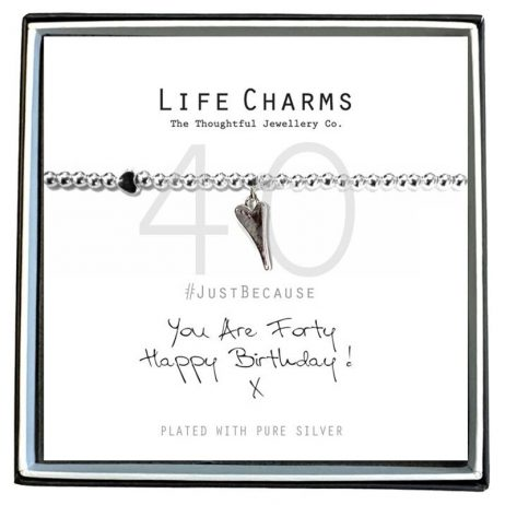 Life Charms Just Because You Are 40 Heart Bracelet