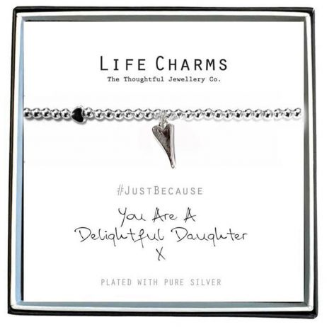 Life Charm You Are A Delightful Daughter Silver Bracelet