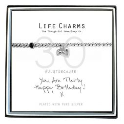 Life Charms Just Because You Are 30 Silver Hearts Bracelet