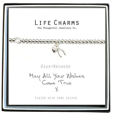 Life Charm May All Your Wishes Come True Silver Bracelet