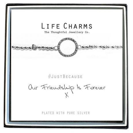 Life Charm Friendship Forever Silver Bracelet