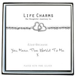 Life Charm You Mean The World To Me Silver Bracelet