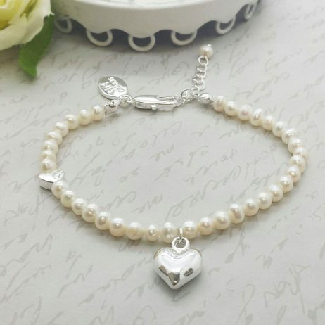 Life Charms Thank You Bridesmaid Pearl and Heart Bracelet