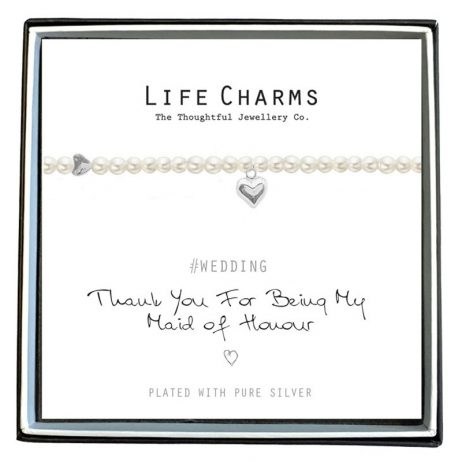 Life Charms Thank You Maid Of Honour Pearl and Heart Bracelet