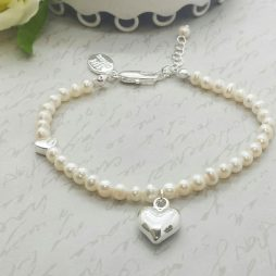 Life Charms Thank You Maid Of Honour Pearl and Heart Bracelet LCW01PHM