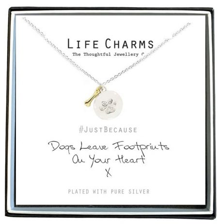 Life Charms Dogs Leave Footprints On Your Heart Necklace