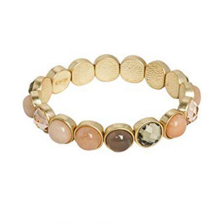 Sence Copenhagen Mindfulness New Jade Rose and Amazonite Worn Gold Bracelet