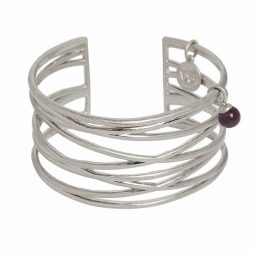 Sence Copenhagen Silver Knowledge Cuff Bangle with Amethyst P783