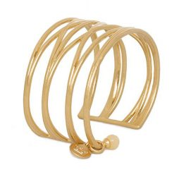 Sence Copenhagen Gold Knowledge Cuff Bangle with Yellow Jade P784