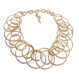 Hot Tomato Jewellery Gold Circles Statement Necklace PA112
