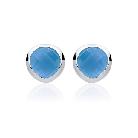 Stara London 5mm Stud Earrings Silver Plated Blue Chalcedony