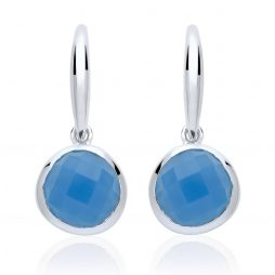 Stara London 8mm Drop Earrings Silver Plated Blue Chalcedony