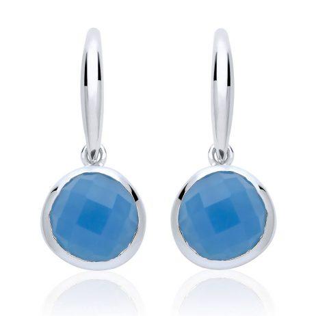 Stara London 8mm Drop Earrings Silver Plated Blue Chalcedony