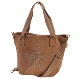 Hot Tomato Tan Star Large Canvas Tote Shopper Bag