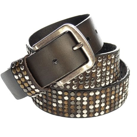 Hot Tomato Brown Leather Rivet and Crystal Studded Belt - EOL
