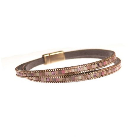 Hot Tomato Mosaic Stripe Double Wrap Bracelet