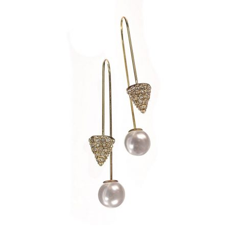 Hot Tomato Jewellery Pearl and Diamond Gold Drop Earrings