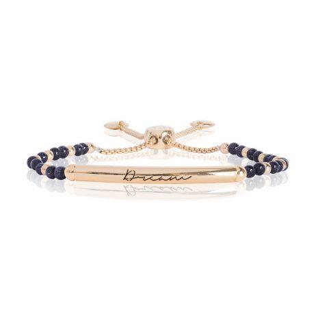 Joma Jewellery Signature Stones Dream Gold Bar with Blue Sandstone Stones Bracelet 2771