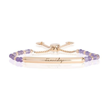 Joma Jewellery Signature Stones Family Gold Bar with Amethyst Stones Bracelet 2774