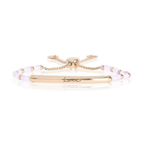 Joma Jewellery Signature Stones Love Gold Bar with Rose Quartz Stones Bracelet 2775