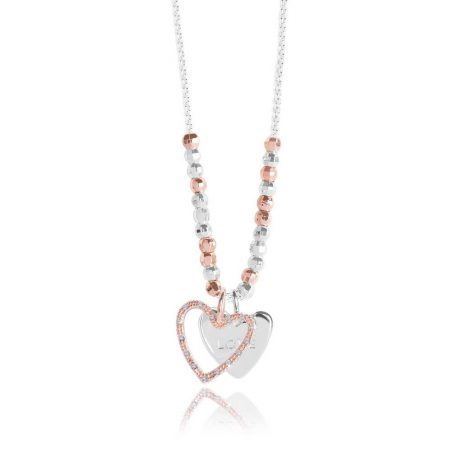 Joma Jewellery Caci Love Necklace With Rose Gold and Silver Pave Heart Charm 2811