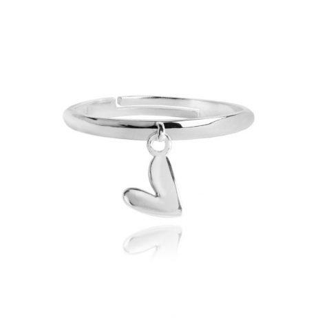 Joma Jewellery Aria Silver Ring With Puffed Heart Pendant 2578