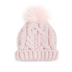 Katie Loxton Baby Cable Knit Bobble Hat (pink) BA0019
