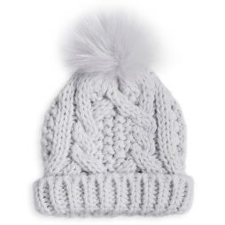 Katie Loxton Baby Cable Knit Bobble Hat (grey) BA0021