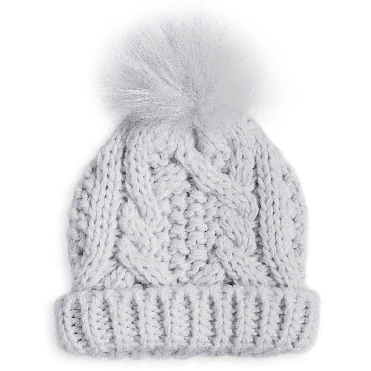 1121465e953 Katie Loxton Baby Cable Knit Bobble Hat (grey) BA0021 - Lizzielane.com