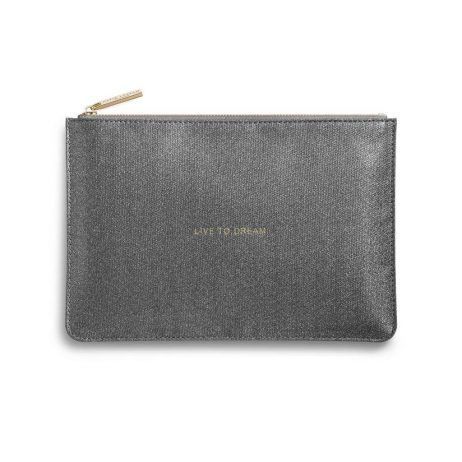 Katie Loxton Live To Dream Charcoal Glistening Pouch KLB343