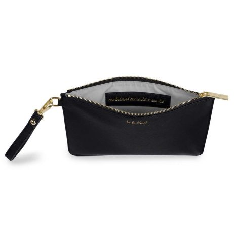 Katie Loxton Secret Message Be Brilliant Black Pouch KLB363