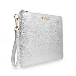 These statement Krush Klutch bags from Katie Loxton's new collection are larger in size than her iconic pouches, featuring a handy strap, this metallic silver clutch bag has a soft crackle textured finish, a golden logo bar at the top, with a gold zip. Beautifully lined with a fabric inside and a matching gold panel complete with the branded logo.