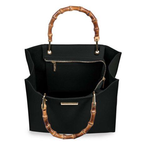 Katie Loxton Black Amelie Bamboo Handbag KLB401