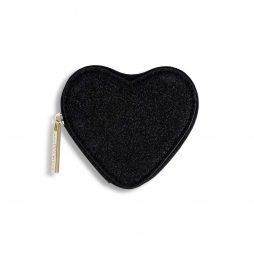 Katie Loxton Black Glittery Heart Coin Purse KLB409