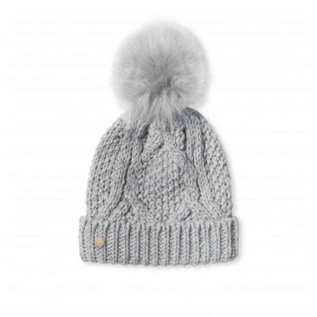 Katie Loxton Pale Charcoal Cable Knit Bobble Hat KLS046 - EOL