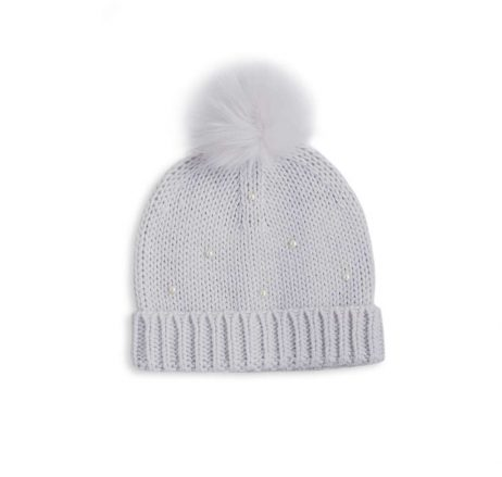 Katie Loxton Pale Grey Pearl Cable Knit Hat KLS114