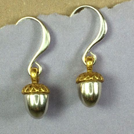 Hultquist Jewellery Silver and Gold Acorn Earrings