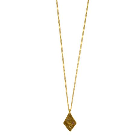Hultquist Jewellery Rhombus Gold Plated Necklace with Crystals